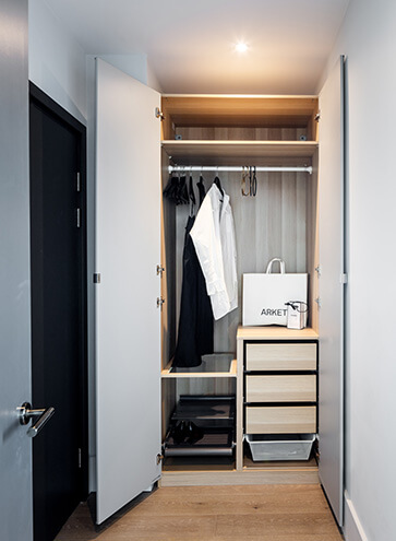 Storage area of a Leon House one bedroom apartment