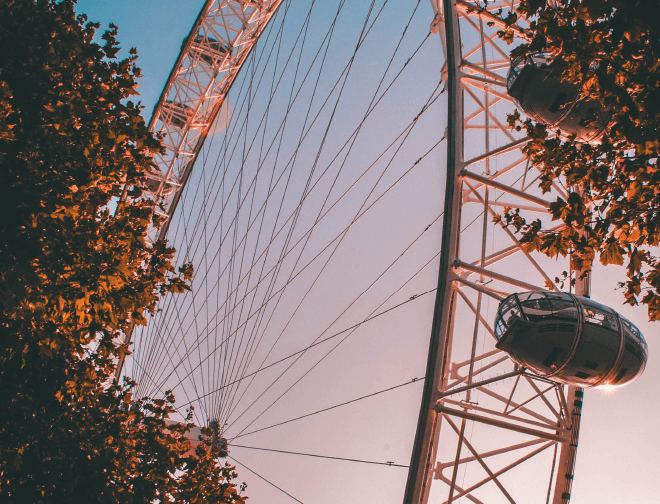 The London Eye which gives an incredible view above London