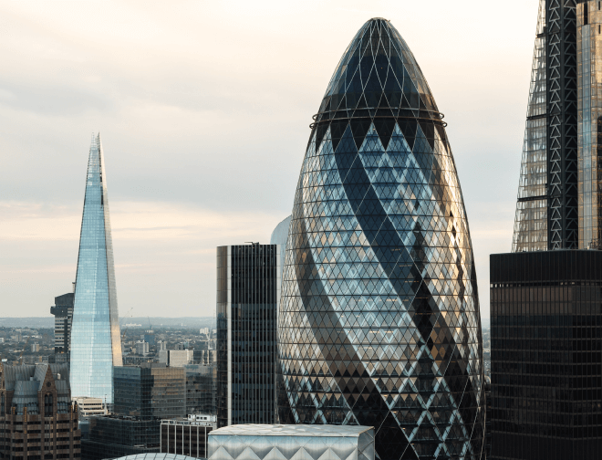 A view of the London skyline including the Shard and the Gherkin
