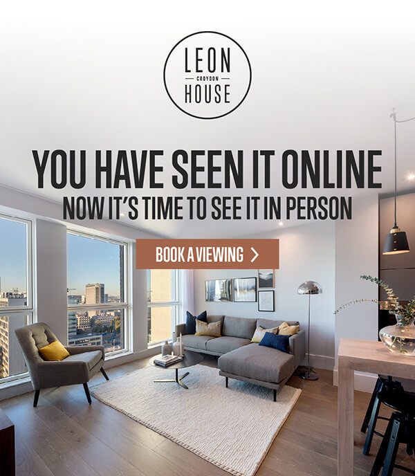 Showcase of the Leon House flats living area with the prompt to book a viewing