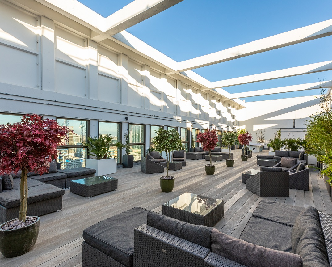 Roof top garden at Leon House with views towards London city.