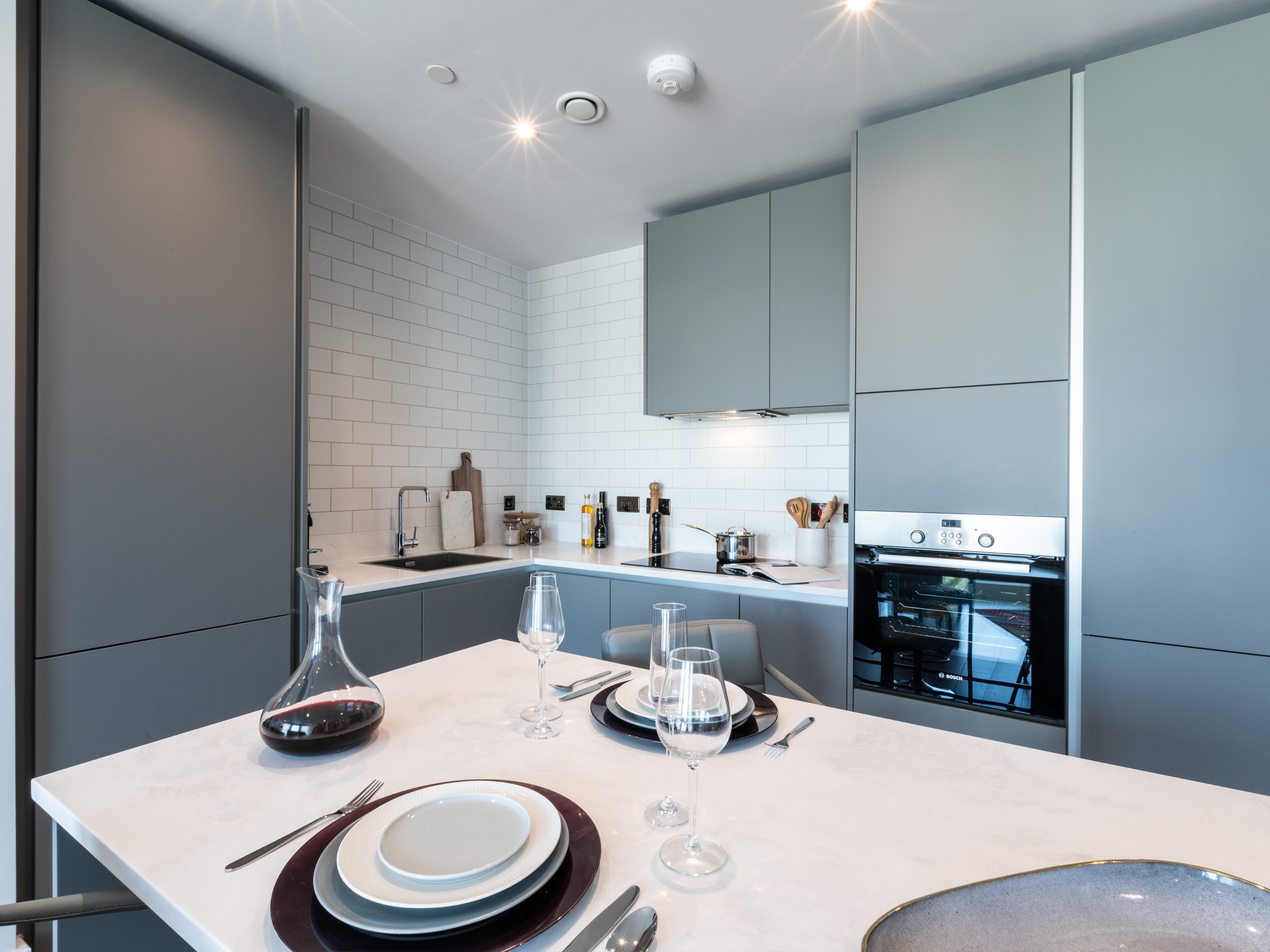 The kitchen area of a luxury two bedroom apartment at Leon House, Croydon
